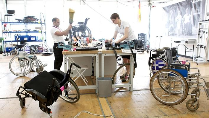 Ottobock technicians have a line-up of wheelchairs to repair at the London 2012 Paralympic Games.