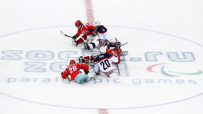 Athletes compete in the fiercely competitive sport of sledge hockey at the Sochi 2014 Paralympic Games