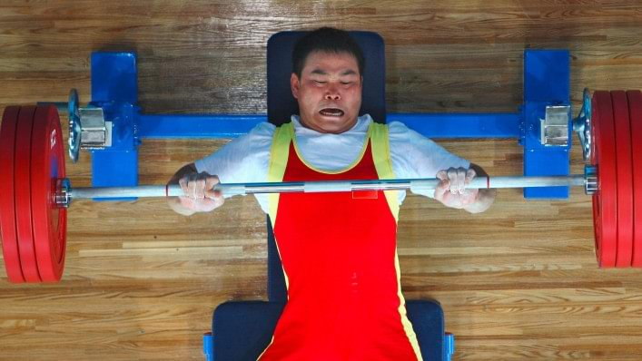Athlete competes in powerlifting at the Beijing 2008 Paralympic Games