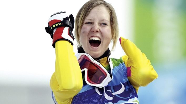 Alpine skier celebrates at the Vancouver 2010 Paralympic Games