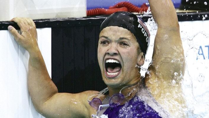 Swimmer celebrates at the Athens 2004 Paralympic Games