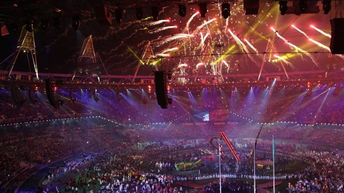Spectacular closing ceremony of the 2012 Paralympic Games in London with fireworks