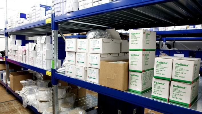 Hundreds of spare parts line the shelves in the storage room in the technical service repair centre in the Athletes' Village at the London 2012 Paralympic Games