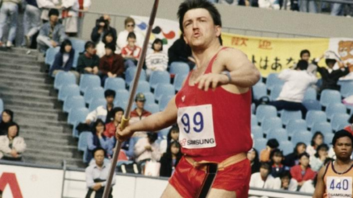 Athlete competes in the javelin at the 1988 Paralympic Games in Seoul, South Korea