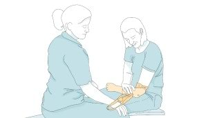 During rehabilitation your prosthetist will show you the best way to put your arm prosthesis on
