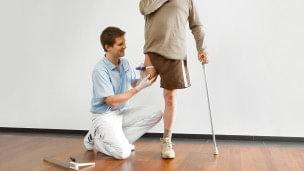 The prosthetist takes your individual body measurements