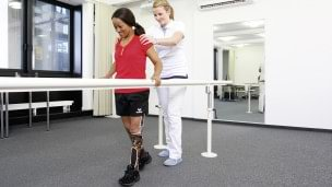 During rehabilitation you learn to walk with your leg orthosis even on varying surfaces