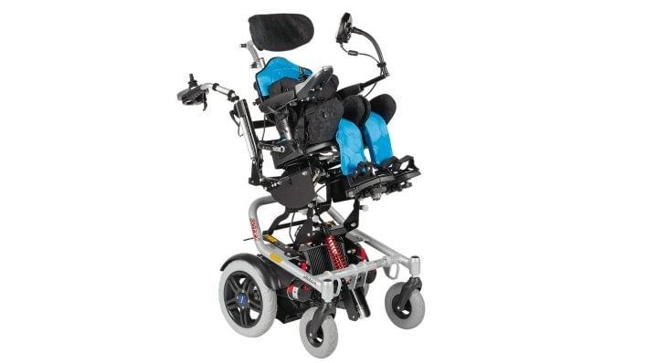 Mygo seating system with the Skippi Plus power wheelchair for independent mobility.
