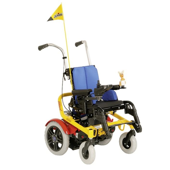 Power wheelchair with lift seat gives children with special needs a