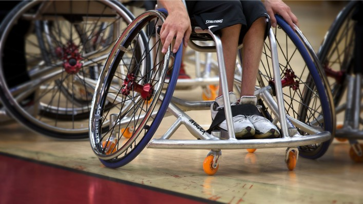 Invader box-frame wheelchair on the basketball court
