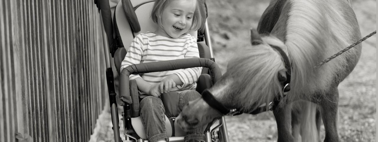 Child in a Kimba Neo stroller on a farm
