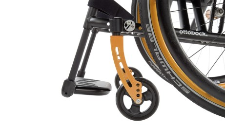 Colourful caster fork with black caster wheels