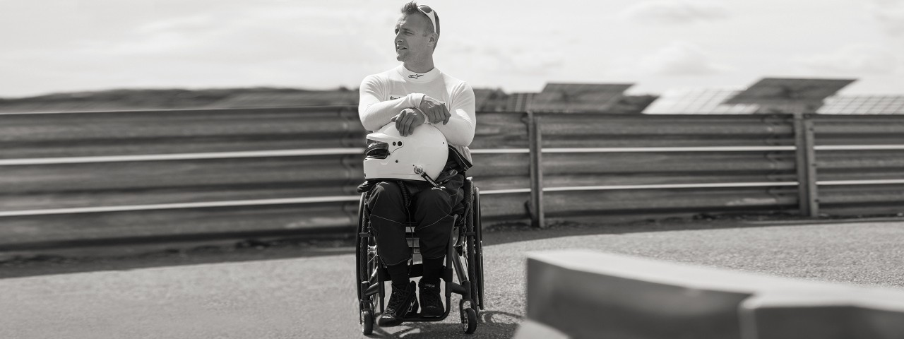 Andi with his wheelchair on the race track