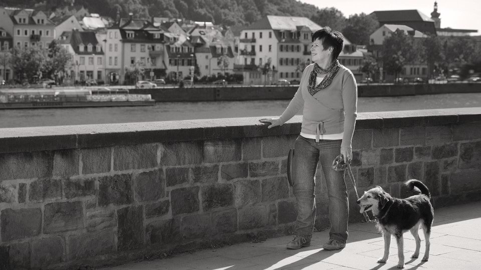 Karin wearing the C-Brace while walking her dog and enjoying the sites.