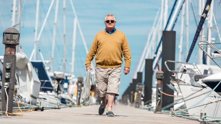 Ottobock silicone forefoot prosthesis user walks on a landing stage