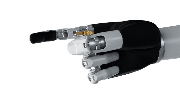 Image of the bebionic hand small in white in the active index grip.