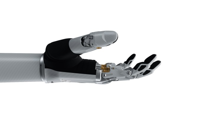 Image of the bebionic hand small in white in the open palm grip.