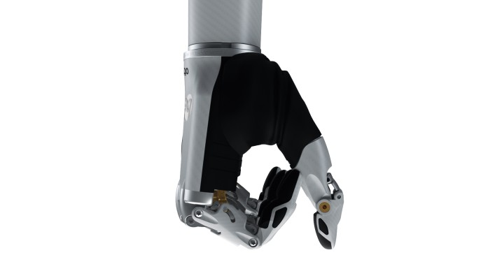 Image of the bebionic hand small in white in the hook grip.