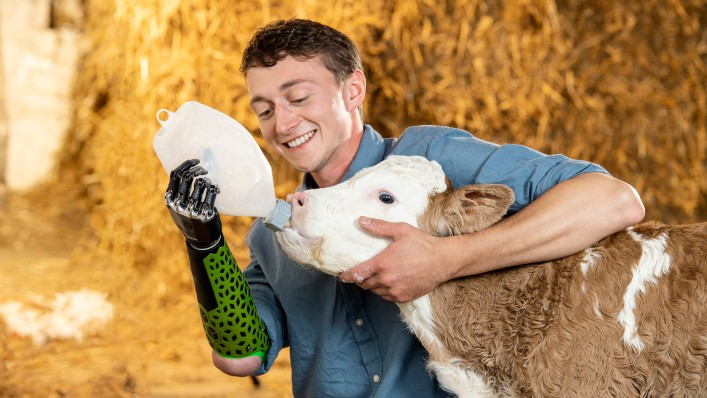 A bebionic user feeding a calf with the bebionic hand medium in black.