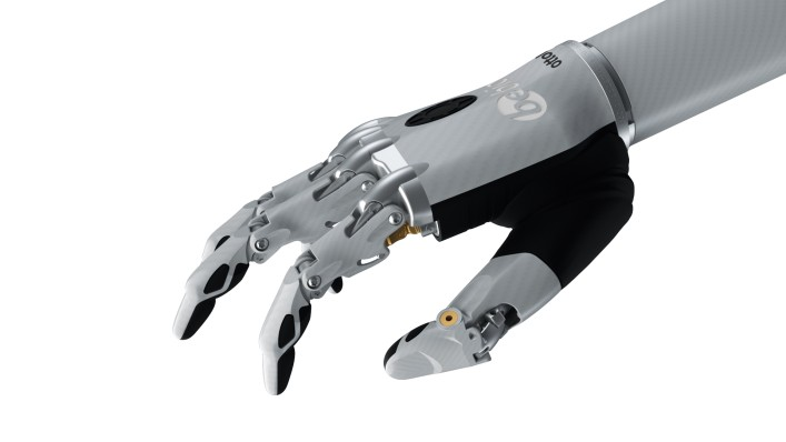 Image of the bebionic hand small in white in the mouse grip.