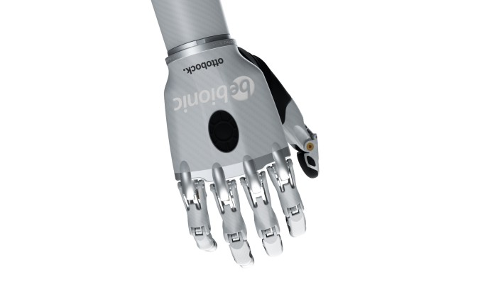 Image of the bebionic hand small in white in the relaxed hand position.