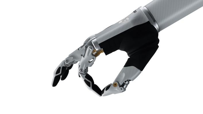 Image of the bebionic hand small in white in the precision open grip.