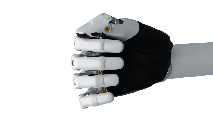 Afbeelding van de bebionic hand small in wit in de key-greep.