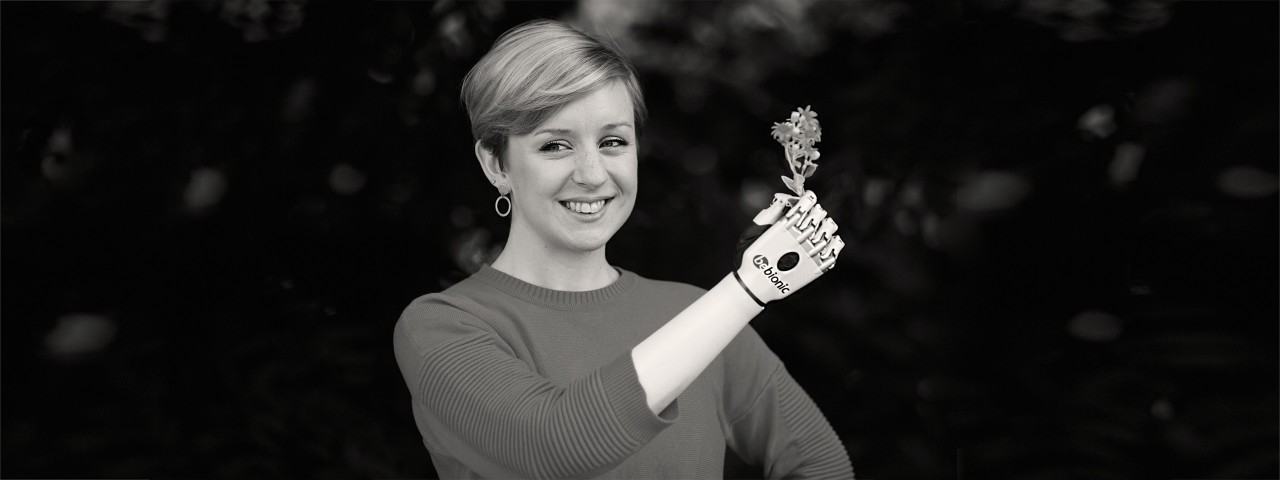 User with Bebionic hand
