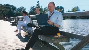 Man enjoys leisure time at the lake