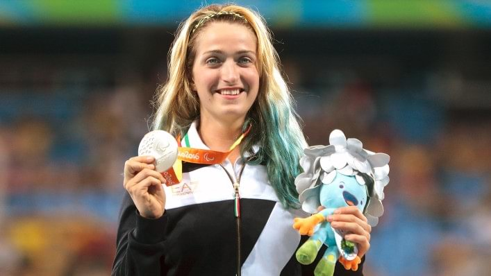 Martina Caironi with her Paralympic medal.