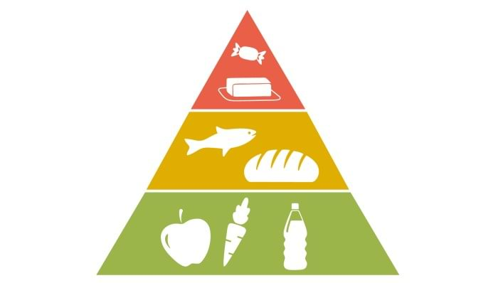 A food pyramid shows the correct diet to prevent osteoarthritis