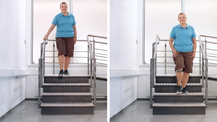 Woman affected by osteoarthritis climbing stairs with and without the Agilium Freestep brace