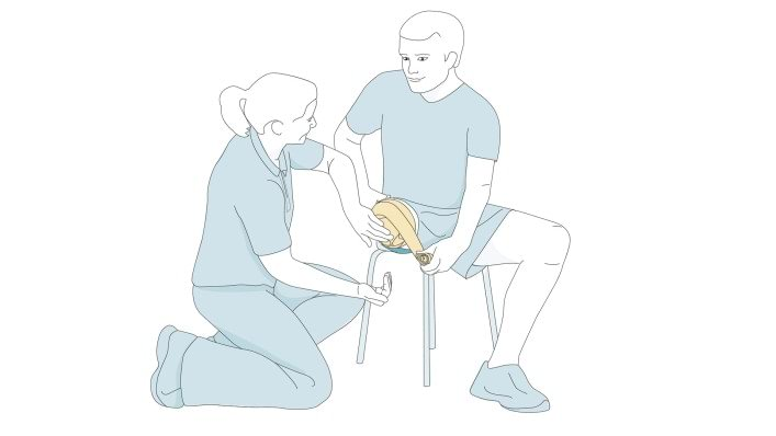 Drawing shows how to roll the bandage round the stump by yourself.