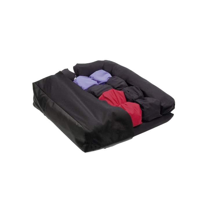Cloud cushion with a seat area divided into 16 individual Floam cells coded in blue, black and red to indicate different volumes of Floam.