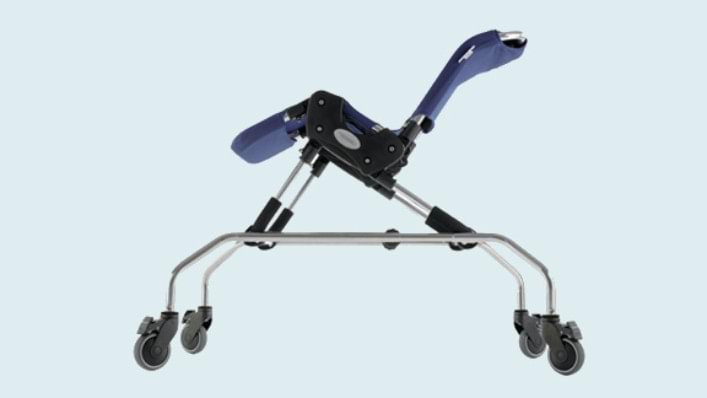 Adjustable shower trolley for Advance Bath Chair with a robust frame made of stainless steel and with high quality lockable castors.