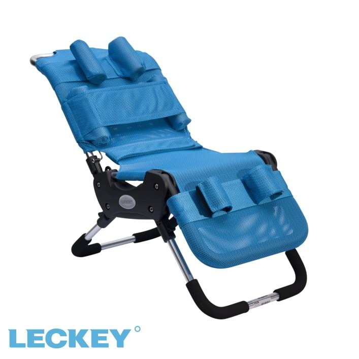 Leckey Advance Bath Chair with a frame made of stainless steel, aluminum and plastic parts and with a removable, washable netting cover.