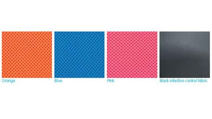 Orange, blue, pink and black infection control fabric color option for Mygo Stander covers