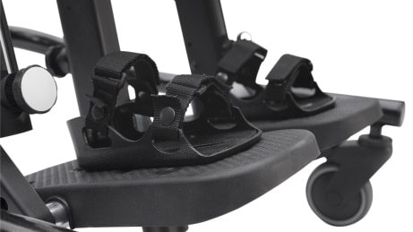 Adjustable footplate for Leckey Mygo Stander with non-slip surface and optional sandals