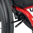The Ventus manual rigid wheelchair has an optional s-lock undermount wheel lock system stows away and won't catch on fingers or clothing.