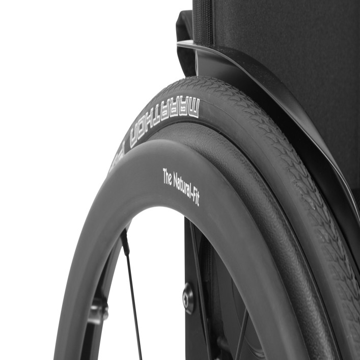 The Ventus rigid wheelchair works with a variety of wheels, and wheel camber can be set at 0, 3, 6, or 9 degrees.