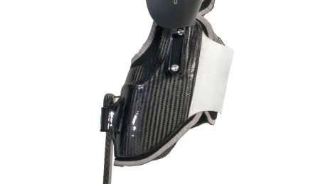 Custom lightweight carbon fiber calf shell of a C-Brace.