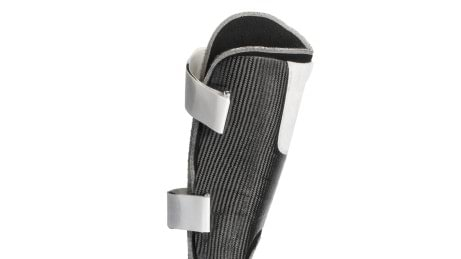 Custom lightweight carbon fiber thigh shell of a C-Brace.