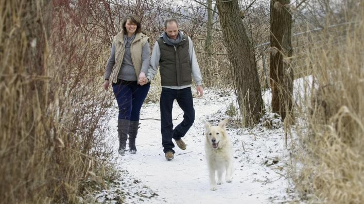 Jürgen with WalkOn taking a walk with his dog