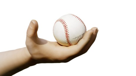 Holding a baseball with an inside open Michelangelo hand prosthesis