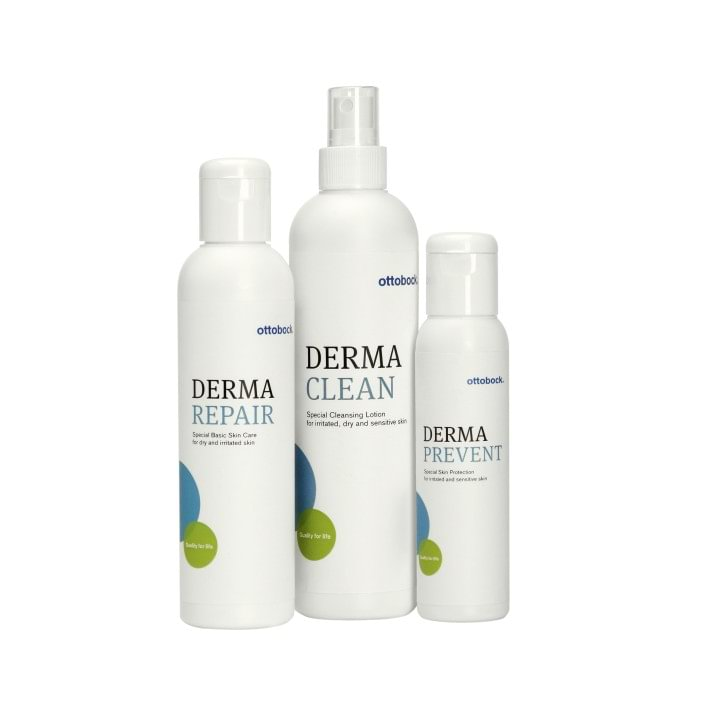 The Derma series offers a selection of skin care products that have been specially adapted to the needs of people who are wearing prostheses or orthoses.