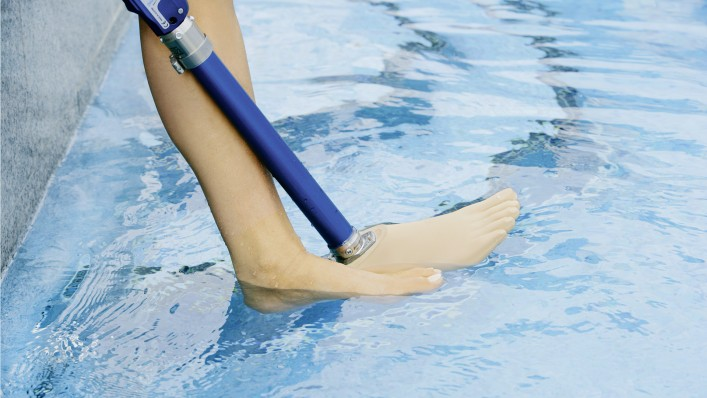 Aqualine prosthetic system used in water.